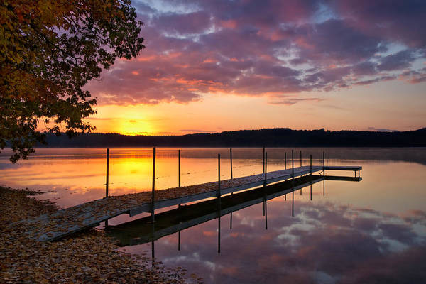 Sunrise On Keoka Lake Art Print