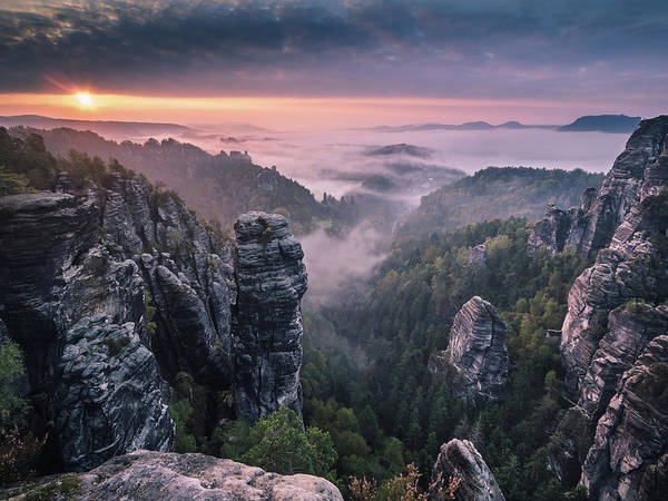 Misty Photograph - Sunrise On The Rocks by Andreas Wonisch