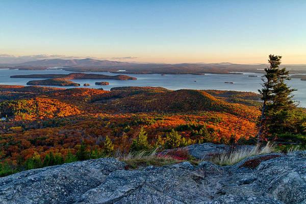 Autumn In New England Photograph - Sunrise Over Winnipesaukee. by Jeff Sinon