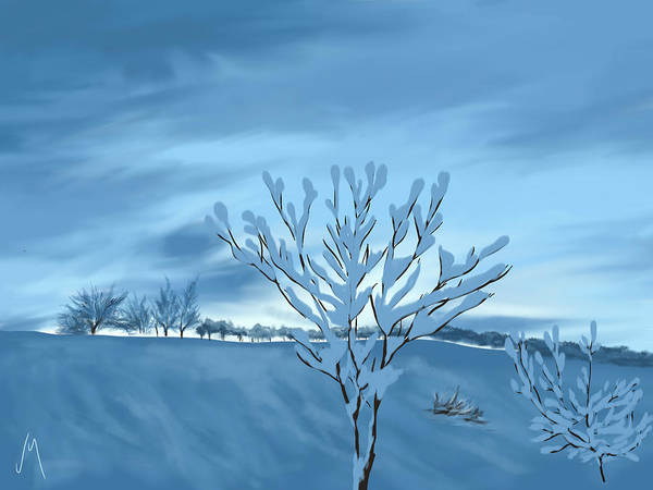 Snowscape Painting - Sunrise by Veronica Minozzi