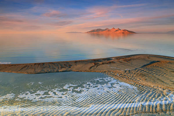 Photograph - Sunset At The Great Salt Lake. by Johnny Adolphson