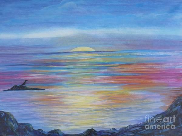 Painting - Sunset Ocean by Monika Shepherdson