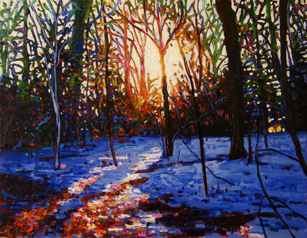 Icy Leaves Wall Art - Painting - Sunset On Snow by Helen White