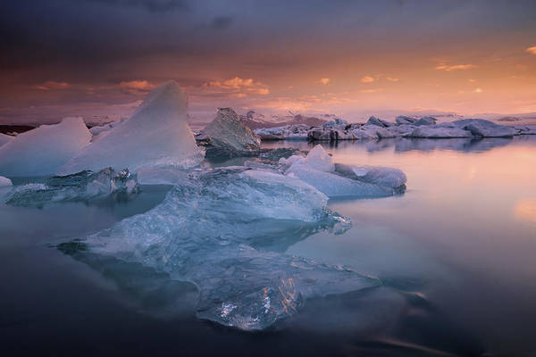 Glacier Bay Photograph - Sunset Over Glacier Bay In Iceland by Keith Ladzinski