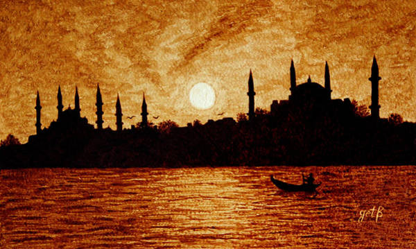 Fishing Boat Painting - Sunset Over Istanbul Original Coffee Painting by Georgeta  Blanaru