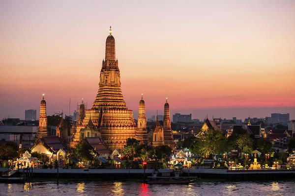 Thai Photograph - Sunset Over Wat Arun Temple, Bangkok by Matteo Colombo