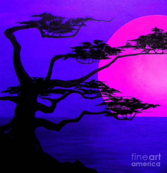 Bonsai Tree Digital Art - Sunset Silhouette by D L Gerring