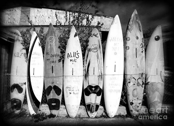 Lessons Photograph - Surf Board Fence Maui Hawaii by Edward Fielding