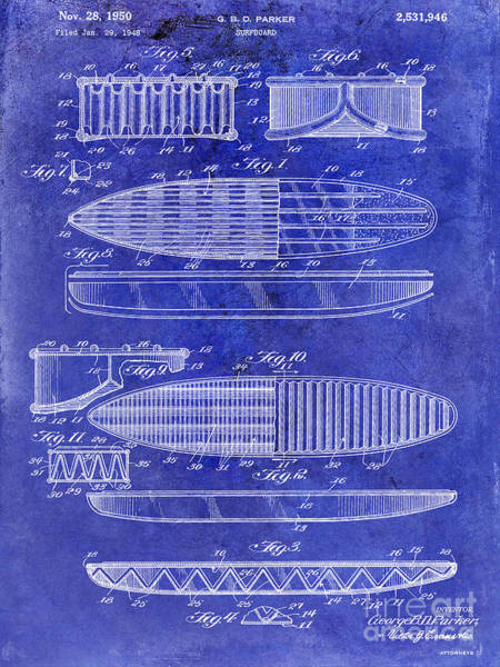 Patents Mixed Media - Surfboard Patent Drawing 1950 Blue by Jon Neidert