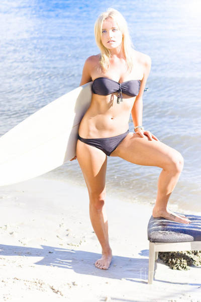 Babe Photograph - Surfboarding Person Posing With Surfboard by Jorgo Photography - Wall Art Gallery