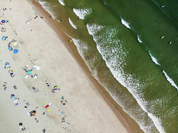 Wall Art - Photograph - Surfers And Beachgoers At Nauset Beach by Steele Burrow
