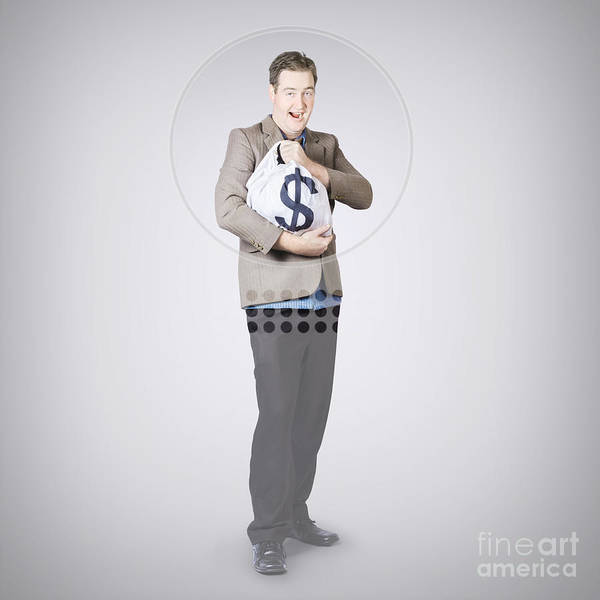 Wall Art - Photograph - Surprised Business Man Holding Money Bag In Bank by Jorgo Photography - Wall Art Gallery