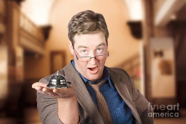 Wall Art - Photograph - Surprised Customer Holding Retail Service Bell by Jorgo Photography - Wall Art Gallery