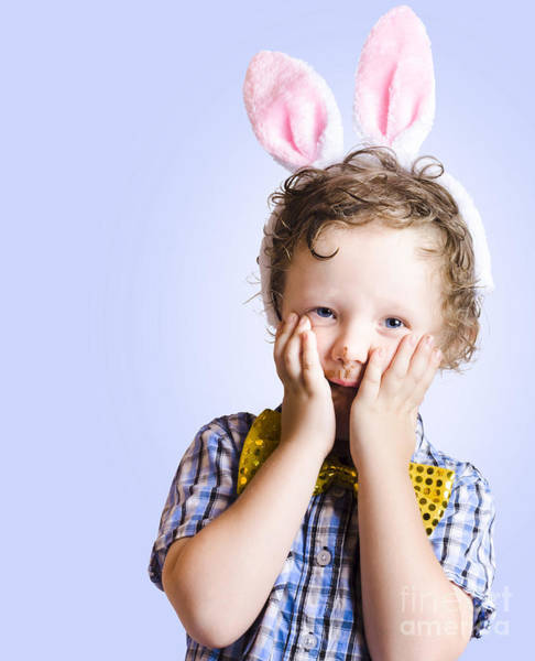 Headband Photograph - Surprised Easter Kid Looking Shocked by Jorgo Photography - Wall Art Gallery