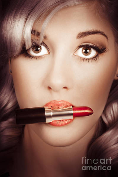 Apply Photograph - Surprised Pinup Girl With Lipstick Makeup In Mouth by Jorgo Photography - Wall Art Gallery