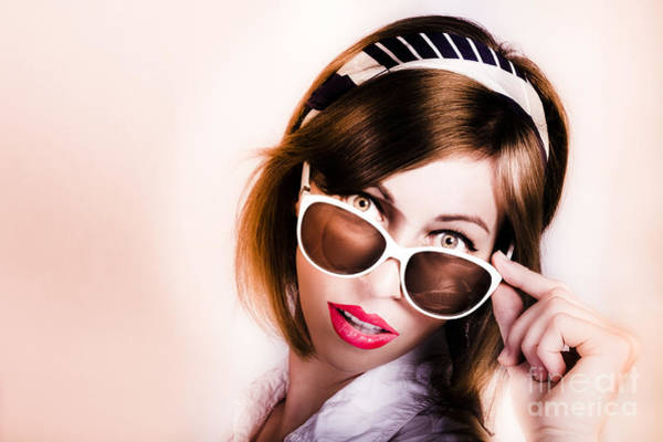 Photograph - Surprised Retro Pop Art Girl Wearing Red Lipstick by Jorgo Photography - Wall Art Gallery