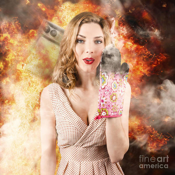 Photograph - Surprised Woman Cook In Kitchen Fire. Bad Cooking by Jorgo Photography - Wall Art Gallery