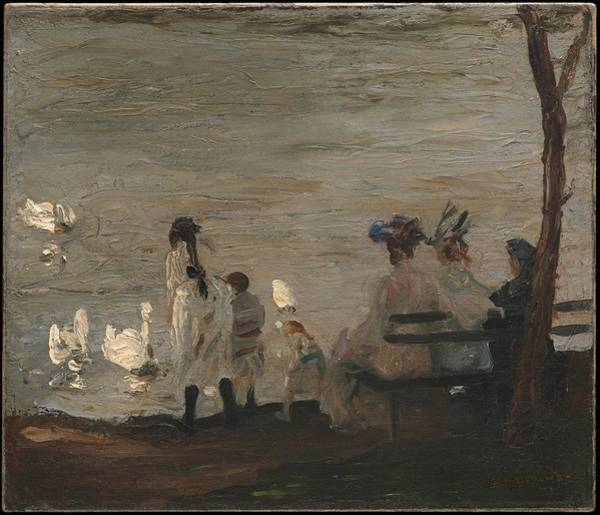 Central America Painting - Swans In Central Park by George Bellows