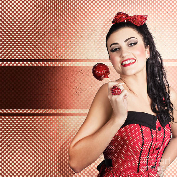 Wall Art - Photograph - Sweet Candy Pinup Girl With Vintage Toffee Apple by Jorgo Photography - Wall Art Gallery