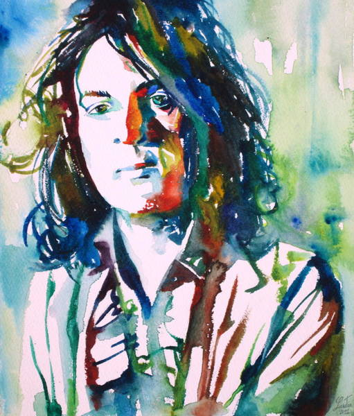 Pink Floyd Painting - Syd Barrett - Watercolor Portrait.1 by Fabrizio Cassetta
