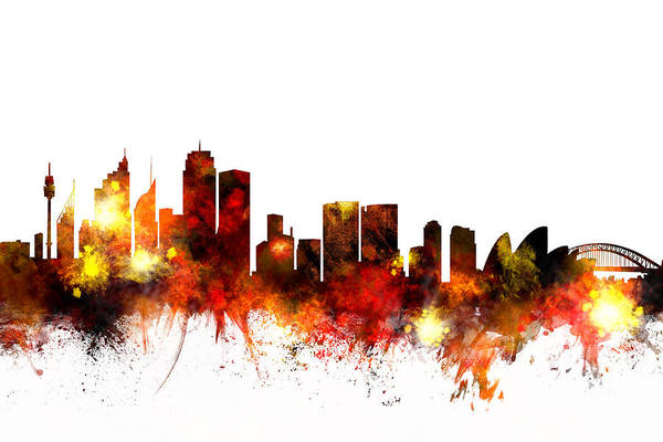 Flag Digital Art - Sydney Australia Skyline by Michael Tompsett