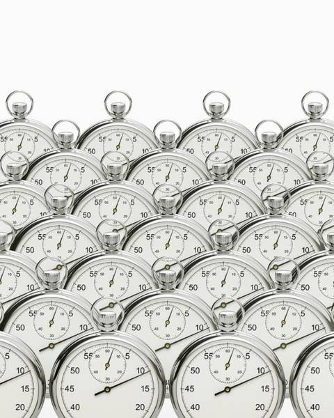 Dials Photograph - Synchronised Stopwatches by David Parker