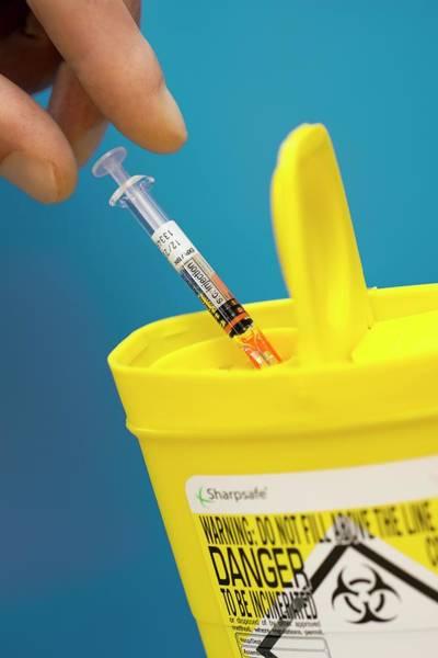 Bin Photograph - Syringe Disposal In A Sharps Bin by David Parker