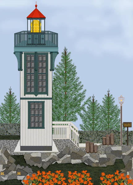 Wall Art - Painting - Table Bluff Lighthouse California by Anne Norskog
