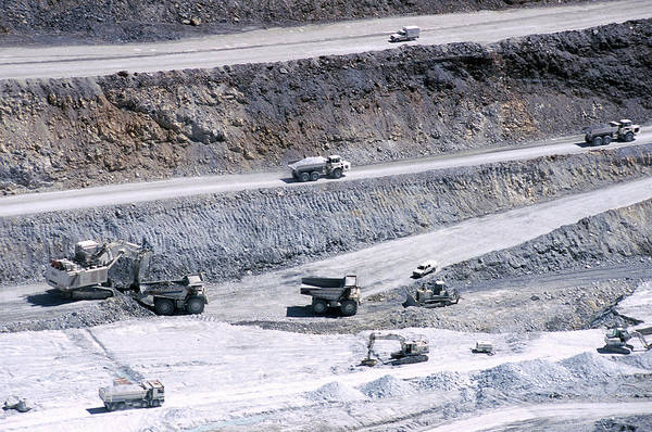 Excavator Photograph - Talc Quarry Trucks by Philippe Psaila/science Photo Library