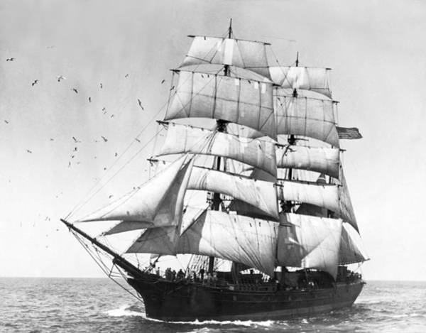 Sea Of Serenity Photograph - Tall Sailing Ship by Underwood Archives