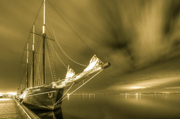 Tall Ship In The Lights Of Toronto Art Print