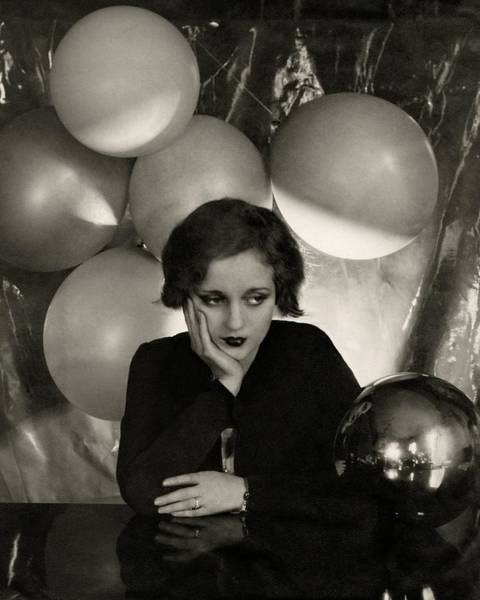 Metal Furniture Photograph - Tallulah Bankhead Surrounded By Balloons by Cecil Beaton
