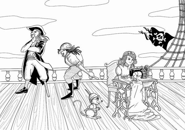 Drawing - Tammy And The Pirates by Reynold Jay