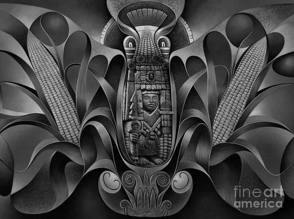 Wall Art - Painting - Tapestry Of Gods - Chicomecoatl by Ricardo Chavez-Mendez