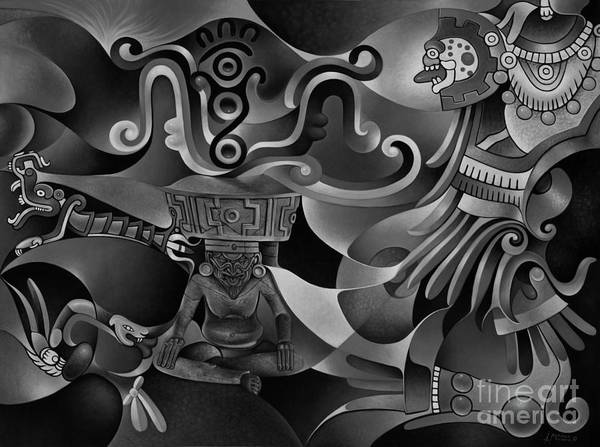 Wall Art - Painting - Tapestry Of Gods - Huehueteotl by Ricardo Chavez-Mendez