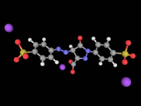Compound Photograph - Tartrazine Molecule by Laguna Design/science Photo Library