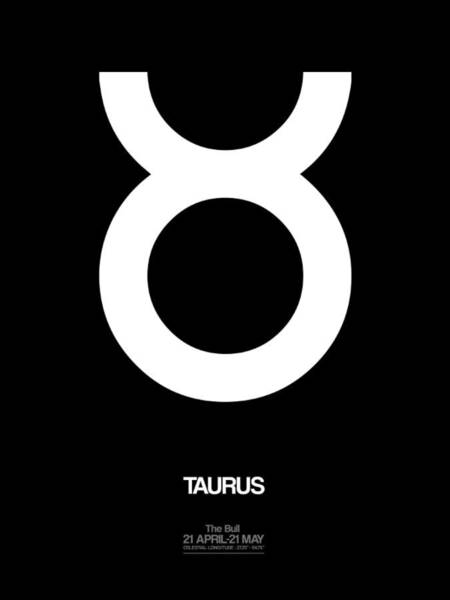Taurus Digital Art - Taurus Zodiac Sign White by Naxart Studio