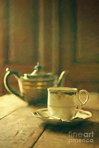 Photograph - Tea Pot And Cup Of Tea On Table/ Digital Painting by Sandra Cunningham