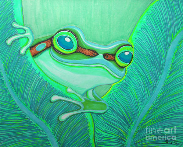 Teal Drawing - Teal Frog by Nick Gustafson