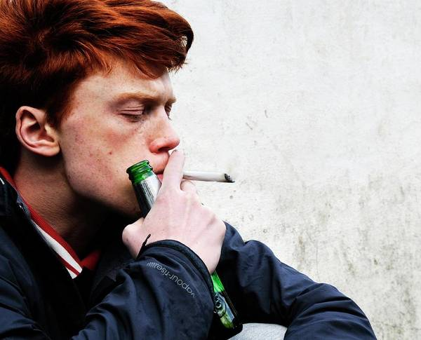 Addictive Photograph - Teenager Smoking And Drinking by Cordelia Molloy