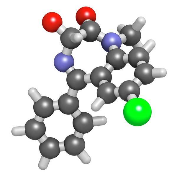 3d Model Photograph - Temazepam Benzodiazepine Drug Molecule by Molekuul