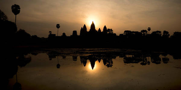 Reap Photograph - Temple At The Lakeside, Angkor Wat by Panoramic Images