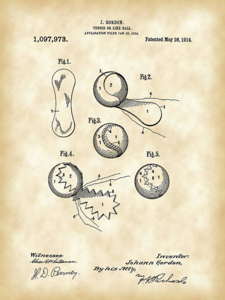 Serve Digital Art - Tennis Ball Patent 1914 - Vintage by Stephen Younts