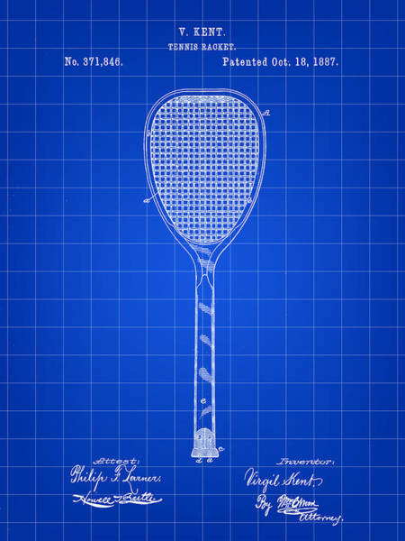 Serve Digital Art - Tennis Racket Patent 1887 - Blue by Stephen Younts