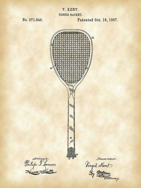 Wall Art - Photograph - Tennis Racket Patent 1887 - Vintage by Stephen Younts