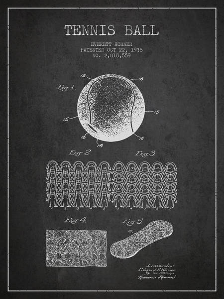 Wall Art - Digital Art - Tennnis Ball Patent Drawing From 1935 by Aged Pixel