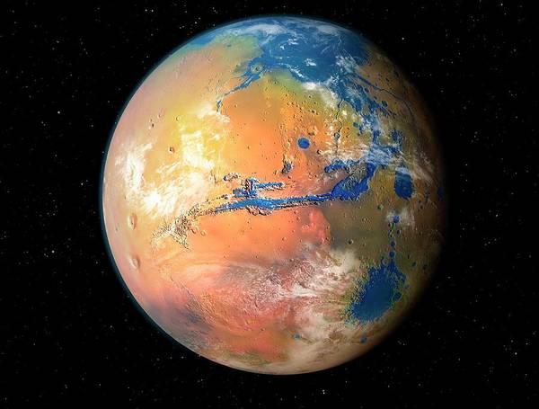 Land Mark Photograph - Terraformed Mars by Mark Garlick/science Photo Library