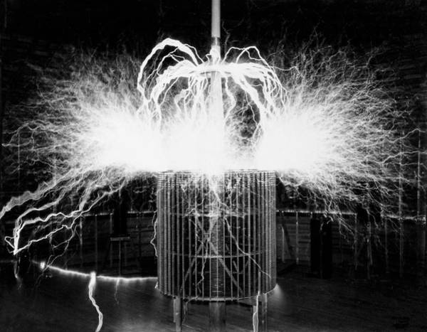 Wall Art - Photograph - Tesla Coil Experiment by Nikola Tesla Museum/science Photo Library