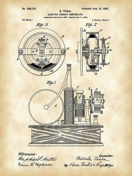 Controller Digital Art - Tesla Electric Circuit Controller Patent 1897 - Vintage by Stephen Younts