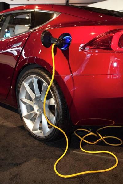Detroit Auto Show Photograph - Tesla Model S Electric Sports Car by Jim West